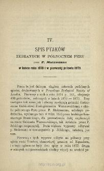 Spis ptaków zebranych w północnem Peru przez P. Stolzmanna w końcu roku 1878 i w pierwszéj połowie 1879
