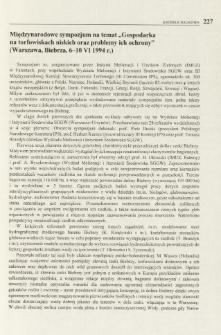 """Międzynarodowe sympozjum na temat """"Gospodarka na torfowiskach niskich oraz problemy ich ochrony"""" (Warszawa, Biebrza, 6-10 VI 1994 r.)"""