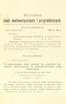 Sprawozdania z Posiedzeń Towarzystwa Naukowego Warszawskiego. Wydział III, Nauk Matematycznych i Przyrodniczych. Rok X. Nr 3.