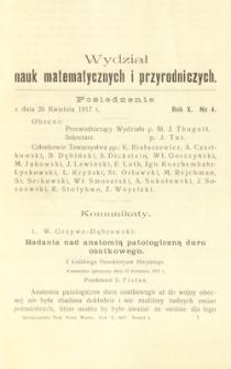 Sprawozdania z Posiedzeń Towarzystwa Naukowego Warszawskiego, Wydział III, Nauk Matematycznych i Przyrodniczych. Rok X. No 4.