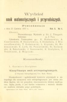 Sprawozdania z Posiedzeń Towarzystwa Naukowego Warszawskiego. Wydział III, Nauk Matematycznych i Przyrodniczych. Rok X. Nr 6.