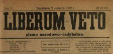 Liberum Veto : pismo narodowo-radykalne 1919 N.31