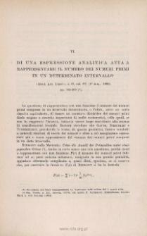 Di una espressione analitica atta a rappresentare il numero dei numeri primi in un determinato intervallo. « Rend. Acc. Lincei », s. 5a, vol. IV (1˚ sem. 1895), pp. 303-309