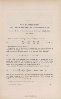 Sur l'instabilité de certaines solutions périodiques. « Comptes Rendus de l'Acad. des. Sc. de Paris », t. CXXX (1900), pp. 170-173