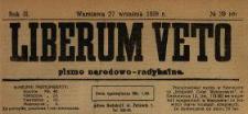 Liberum Veto : pismo narodowo-radykalne 1919 N.39