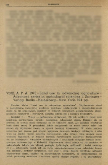 Vink, A. P. A. 1975 - Land use in advancing agric ulture - Advanced series in agricultural sciences 1, Springer-Verlag, Berlin-Heidelberg-New York, 394 pp.