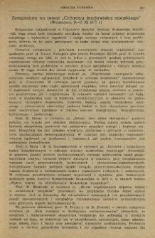 """Sympozjum na temat """"Ochrona środowiska miejskiego"""" (Warszawa, 14-15 XI 1975 r.)"""
