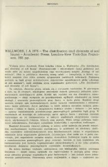 Recenzje. Wallwork, J. A. 1976 - The distribution and diversity of soil fauna - Academic Press, London-New York-San Francisco, 355 pp.