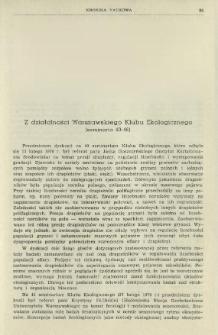 Z działalności Warszawskiego Klubu Ekologicznego (seminaria 40-46)