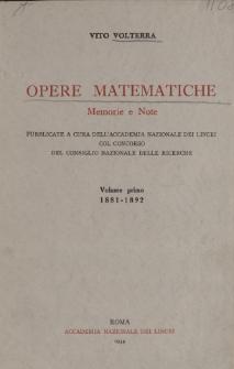 Opere matematiche : memorie e note. Vol. 1, 1881-1892. Spis treści i dodatki