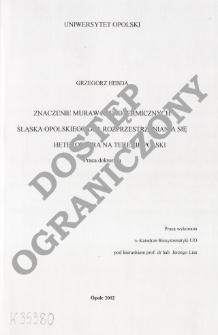 Znaczenie muraw kserotermicznych Śląska Opolskiego dla rozprzestrzeniania się Heteroptera na terenie Polski