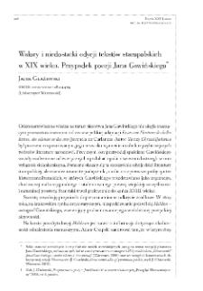 Walory i niedostatki edycji tekstów staropolskich w XIX wieku. Przypadek poezji Jana Gawińskiego