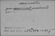 Kartoteka Słownika Łaciny Średniowiecznej; decimalis-dedoceo