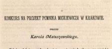 Konkurs na projekt pomnika Mickiewicza w Krakowie
