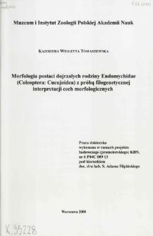 Morfologia postaci dojrzałych rodziny Endomychidae (Coleoptera: Cucujoidea) z próbą filogenetycznej interpretacji cech morfologicznych