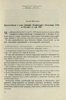 Report on the activity on the Institute of Dendrology and Pomology of the Polish Academy of Sciences in Kórnik for the year 1957