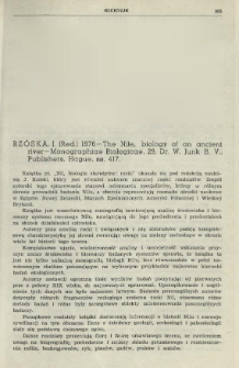 Rzóska, J. (Red.) 1976 - The Nile biology of an ancient river - Monographiae Biologicae, 29, Dr. W. Junk B. V., Publishers, Hague, ss. 417