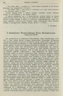 Z działalności Warszawskiego Klubu Ekologicznego (seminaria 55-57)
