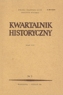Kwartalnik Historyczny R. 94 nr 3 (1987), Title pages, Contents