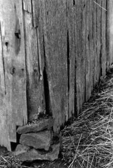 A half-timbered barn pillar