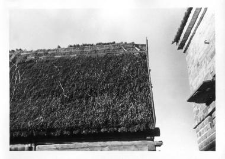A half-timbered barn roof