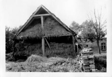A cross-section of a half-timbered barn