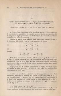 Sulla integrazione delle equazioni differenziali del moto di un corpo elastico isotropo