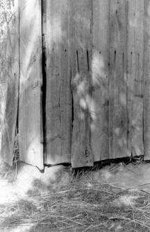 A corner pillar of a half-timbered barn