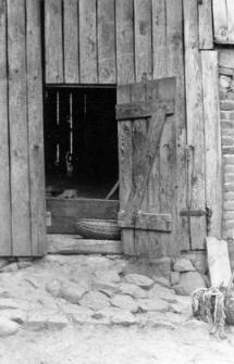 An entrance to a barn
