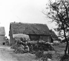 A half-timbered barn