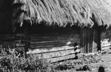 A fragment of a log barn