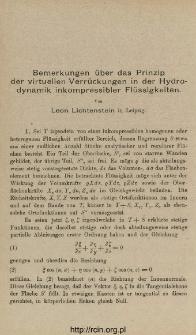 Bemerkungen über das Prinzip der virtuellen Verrückungen in der Hydrodynamik inkompressibler Flüssigkeiten