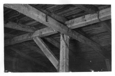 A roof, a view from the inside of a barn