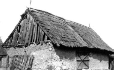 A clay barn with a cowshed