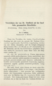 Verzeichniss der von Dr. Gundlach auf der Insel Cuba gesammelten Rüsselkäfer : (Fortsetzung. Siehe Jahrg. XXXVII s. 150)