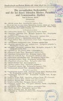 Die europäischen Borkenkäfer und die bei ihnen lebenden Räuber, Parasiten und Commensalen. (Ipidae)