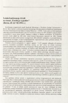 """Letnia konferencja ASAB na temat """"Ewolucja sygnałów"""" (Berno, 20-22 VII 1994 r.)"""
