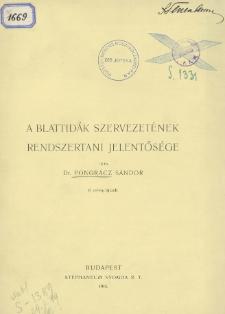 A Blattidák szervezetének rendszertani jelentősége