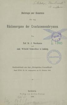 Beiträge zur Kenntnis der sog. Rückenorgane der Crustaceenembryonen