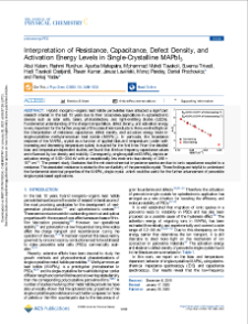 Interpretation of Resistance, CapacitancPankaj Yadave, Defect Density, and Activation Energy Levels in Single-Crystalline MAPbI3