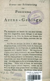 Etwas zur Erläuterung des Panaroma vom Aetna-Gebirge