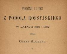 Pieśni ludu z Podola Rossyjskiego w latach 1858 i 1862