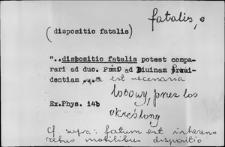 Kartoteka Słownika Łaciny Średniowiecznej; fatalis - feruno