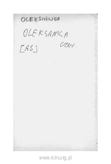 Oleksianka. Files of Czersk district in the Middle Ages. Files of Historico-Geographical Dictionary of Masovia in the Middle Ages