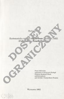 Systematyka rodzaju Opatrinus Dejan, 1821 (Coleoptera, Tenebrionidae)