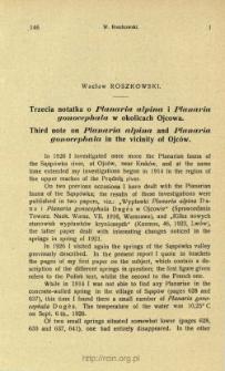 Trzecia notatka o Planaria alpina i Planaria gonocephala w okolicach Ojcowa = Third note on Planaria alpina and Planaria gonocephala in the vicinity of Ojców