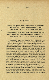 "Uwagi nad pracą Jana Romaniszyna i Fryderyka Schillego p. t. ""Fauna Motyli Polski"", Tom. 1. = Bemerkungen zum Werk von Jan Romaniszyn und Fryd. Schille ""Fauna Lepidopterorum Poloniae"", T. 1"