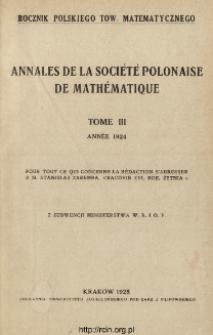 Annales de la Société Polonaise de Mathématique T. 3 (1924), Strona tytułowa i dodatki