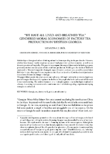 """""""We Have All Lived and Breathed Tea"""". Gendered Spaces of Factory Tea Production in Western Georgia"""