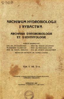 Archiwum Hydrobiologji i Rybactwa, Tom V Nr 3-4